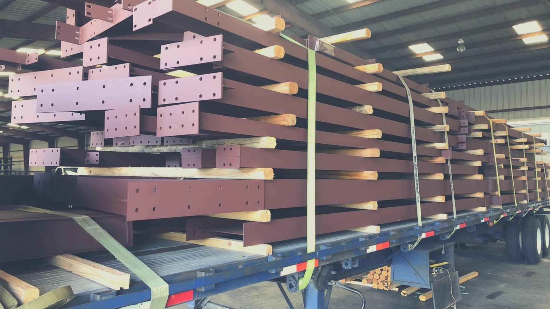 Steel Beams on Truck